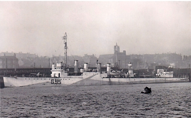 HMS Montgomery, one of the ex-US Navy 'four stacker' destroyers transferred to the Royal Navy under Lend Lease in 1940