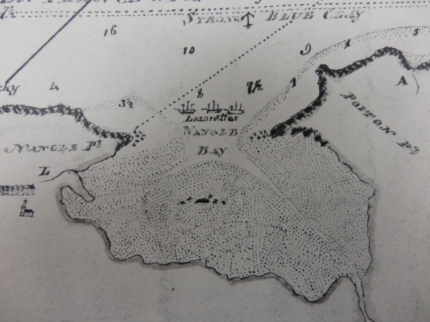 The Milford Haven lazarettes on an early 19th century chart (Pembrokeshire Archives)
