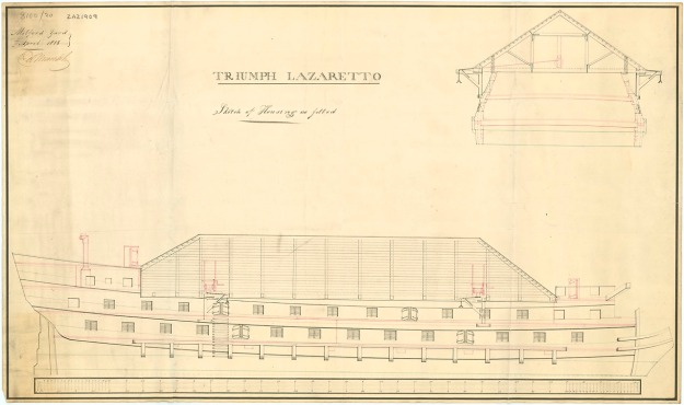 The Triumph as she appeared as a lazaretto at Milford; National Maritime Museum via Creative Commons