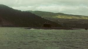 Polaris submarine HMS Repulse in Loch Goil, 1988