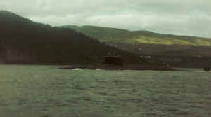Polaris submarine HMS Repulse in Loch Goil, 1988