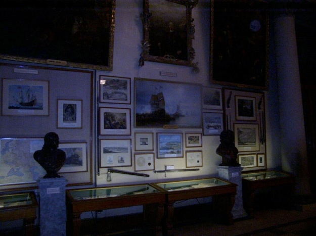 Displays relating to the Russian navy during the era of William Lewis and Catherine the Great: Russian naval museum, St Petersburg