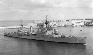 HMS Bermuda entering Grand Harbour, Malta, in 1954, when Harold Williams was serving aboard her.